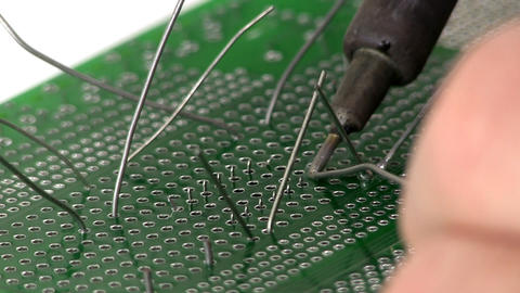 Soldering circuit with through hole IC Footage
