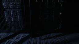 Closing Door Of Servers Rack In Datacenter stock footage