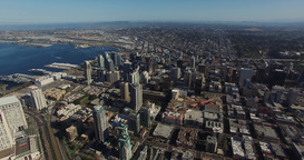 Aerial. Flying Over San Diego Convention Way And DownTown stock footage