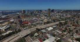 Aerial. Flying Over DownTown San Diego With Road stock footage
