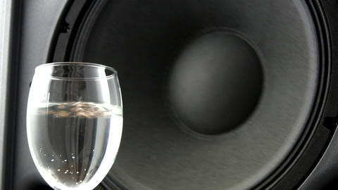 Speaker effects on wine glass; 4 Footage