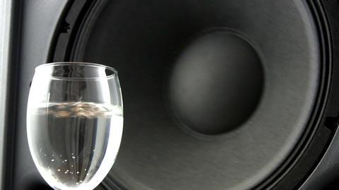 Speaker effects on wine glass; 4 Footage