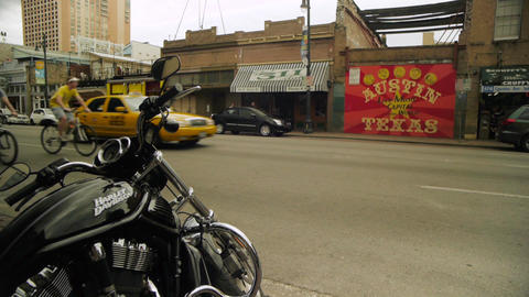 Cars and Bikes on 6th Street Austin TX Footage