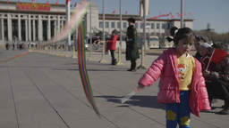 Tienanmen Square Girl Waves Ribbon Footage