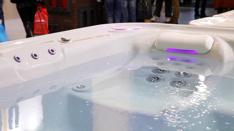 Jacuzzi bath with changing different color lights Stock Video Footage