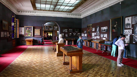 Interior of Stalin museum in Gori, Georgia Stock Video Footage