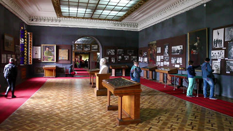 Interior of Stalin museum in Gori, Georgia Footage