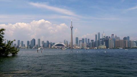 Toronto Skyline View From Toronto Islands stock footage