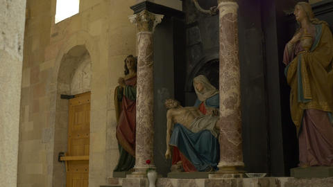 Virgin Mary and Jesus Statues Footage