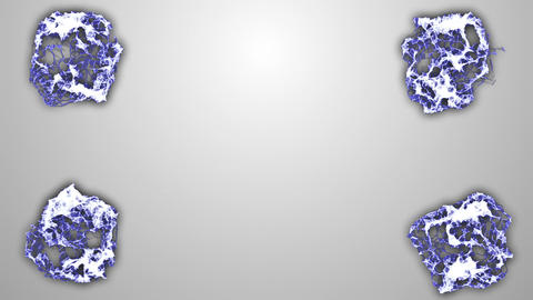 Blue White Molecular Background 4 spheres Animation