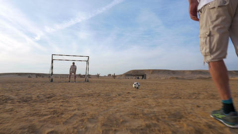 Goal Attempt in Beach Football Footage