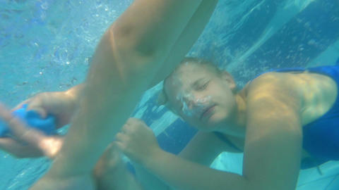 Family Playing Under Water Footage