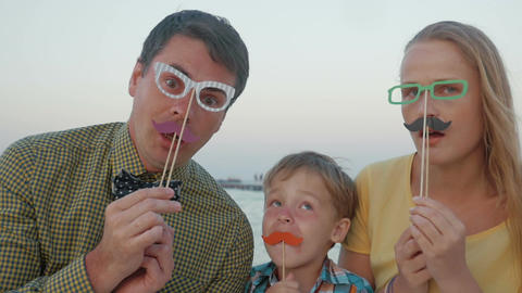 Family of three with hipster glasses and moustache Footage