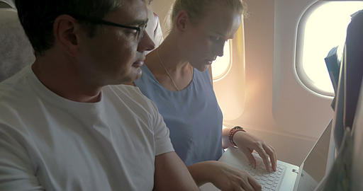 Business People Working during the Flight ビデオ