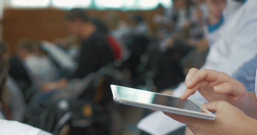 Woman Doctor Using Touch Pad On Medical Conference stock footage