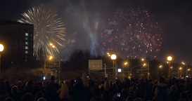 People enjoying fireworks in the city Footage