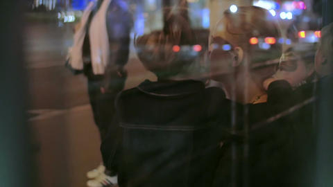 Mother and Son on a Bus Stop Footage