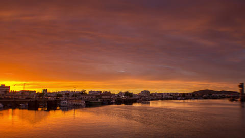4 K Sunset Timelapse at Olhao Fishing Port A Footage