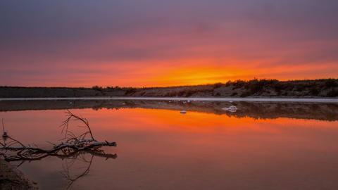 4 K Tilt Timelapse Sunset Salt March Footage