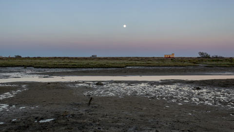 4 K Timelapse Moon Rise Fuzeta Ria Formosa Footage