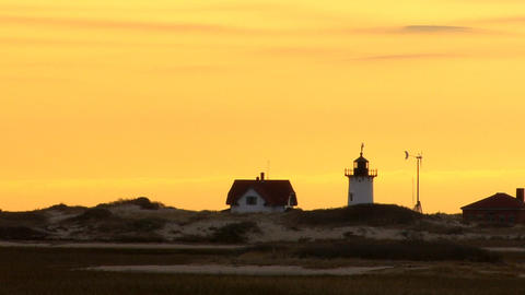 Race point lighthouse silhouette; 3 Footage