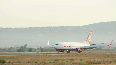 Passenger Airplane Landing at Majorca Airport Live Action