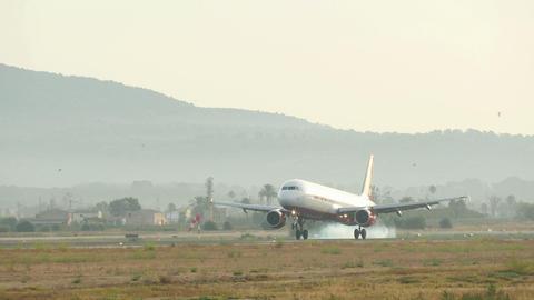 Jet Plane Landing at Majorca Airport Live Action