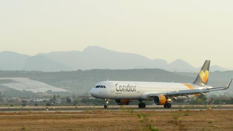 Turbojet Plane Landing at Majorca Airport Live Action