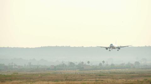 Commercial Flight Landing at Majorca Airport Footage