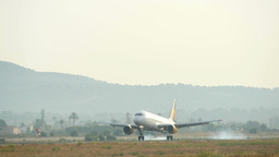 Passenger Airbus Plane Landing At Majorca Airport stock footage