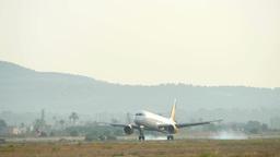 Passenger Airbus Plane Landing at Majorca Airport 4k Footage