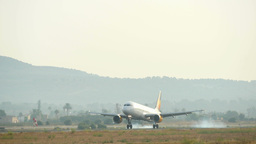 Passenger Airbus Plane Landing At Majorca Airport 4k stock footage