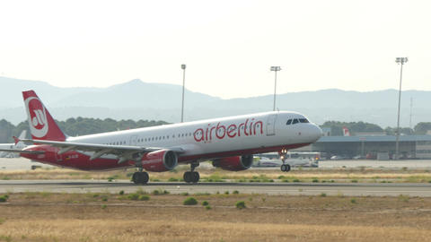 Commercial Airliner Taking Off at Majorca Airport Live Action