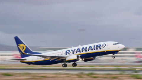 Boeing Airplane Taking Off at Majorca Airport Footage