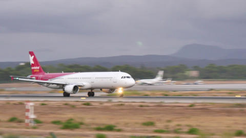 Commercial Turbojet Taking Off At Majorca Airport 4k stock footage