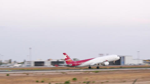 Commercial Turbojet Taking Off at Majorca Airport Footage