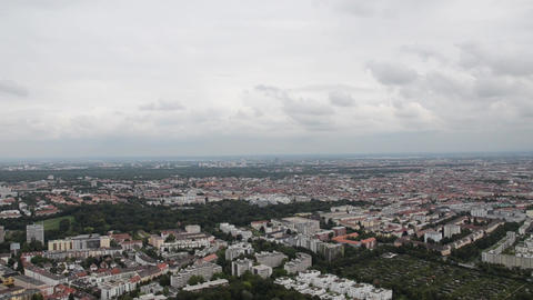 Nice Turning Aereal View Of Munich City stock footage