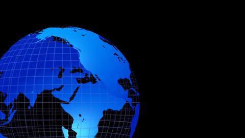 Earth Grobe Simple Left alpha A地球ブルー ループ 合成用A 左 CG動画素材