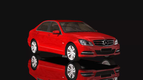 Car Mercedes Benz Moving Rotation Red Color Footage