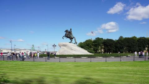 Peter I statue in St. Petersburg - hyperlapse Footage