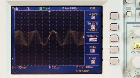 Multi frequency sine wave on oscilloscope; 3 Footage