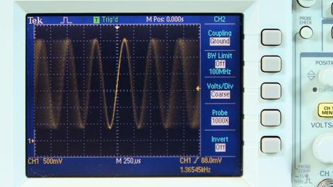 Variable sine wave on oscilloscope Footage