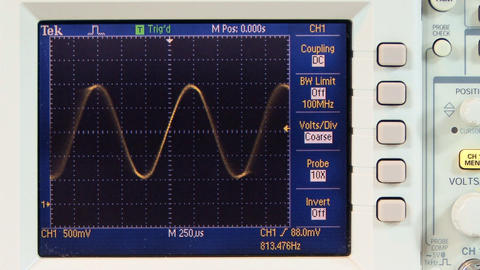 Multi frequency sine wave on oscilloscope; 4 Footage