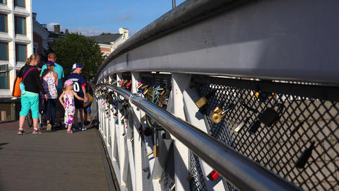 Love lock on a bridge in Helsinki. 4K Footage
