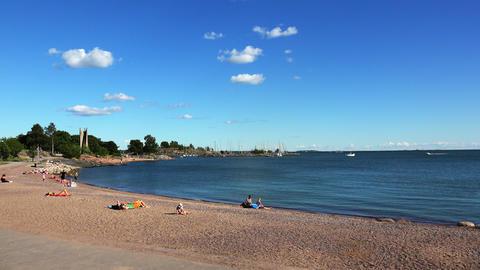 Beach Bay in Helsinki. 4K Footage