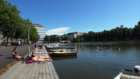 Embankment in Helsinki. 4K Footage