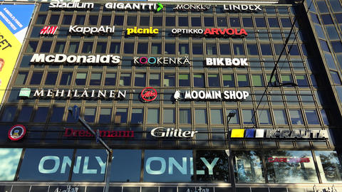 Wall building a supermarket in Helsinki. 4K Footage