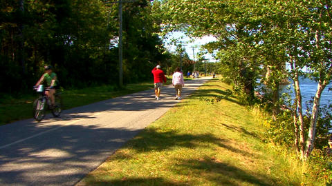 Cape Cod Canal; bike & walking path Footage