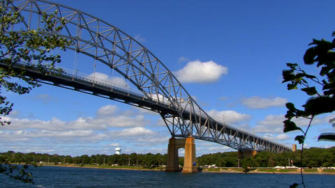 Cape Cod Canal; Bourne Bridge stock footage