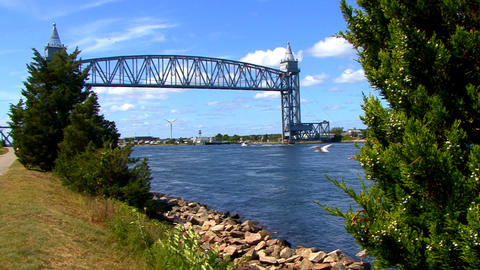 Cape Cod Canal; train bridge 1 Footage